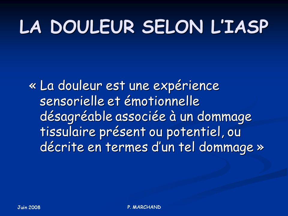 LA DOULEUR SELON L'IASP