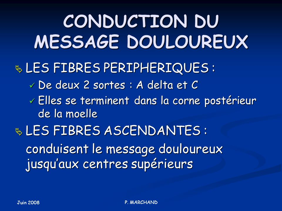 CONDUCTION DU MESSAGE DOULOUREUX