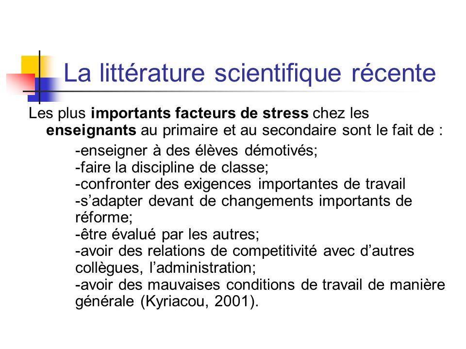 La littérature scientifique récente