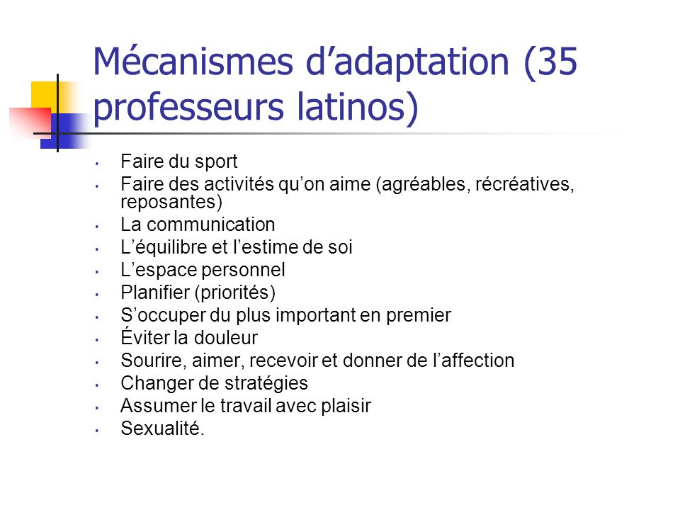 Mécanismes d'adaptation (35 professeurs latinos)