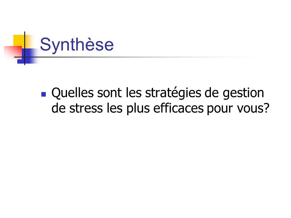 Synthèse Quelles sont les stratégies de gestion de stress les plus efficaces pour vous