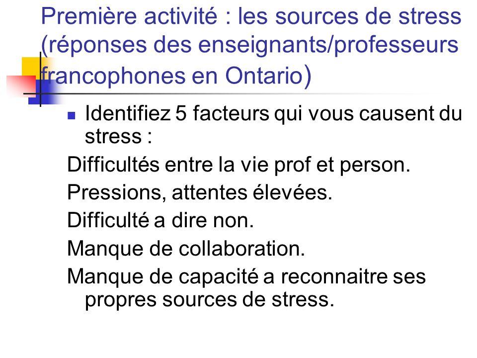 Première activité : les sources de stress (réponses des enseignants/professeurs francophones en Ontario)