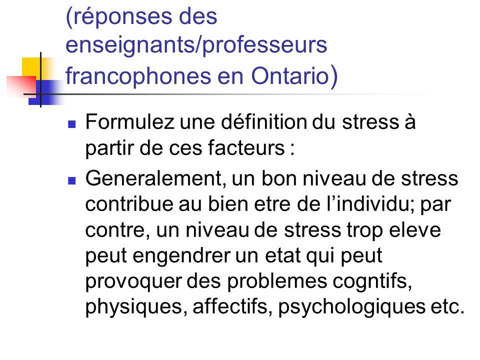 (réponses des enseignants/professeurs francophones en Ontario)