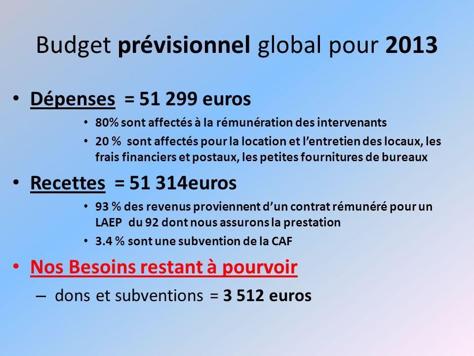 Budget prévisionnel global pour 2013