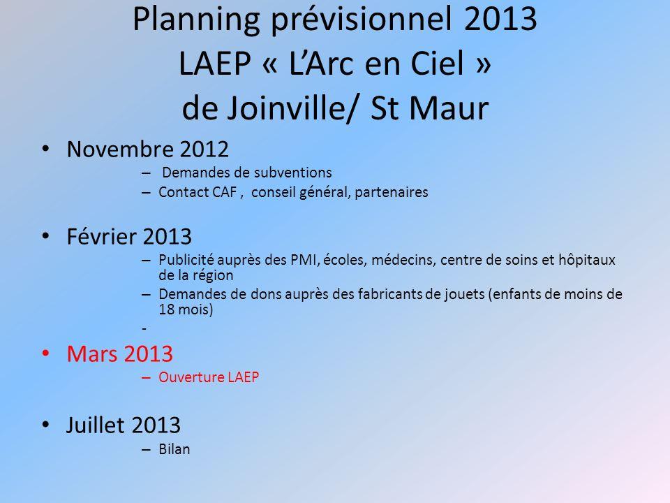 Planning prévisionnel 2013 LAEP « L'Arc en Ciel » de Joinville/ St Maur