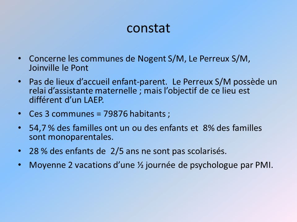 constat Concerne les communes de Nogent S/M, Le Perreux S/M, Joinville le Pont.