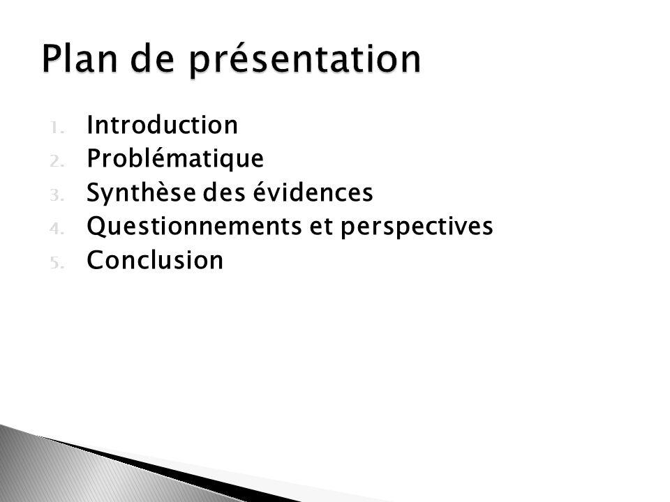 Plan de présentation Introduction Problématique Synthèse des évidences