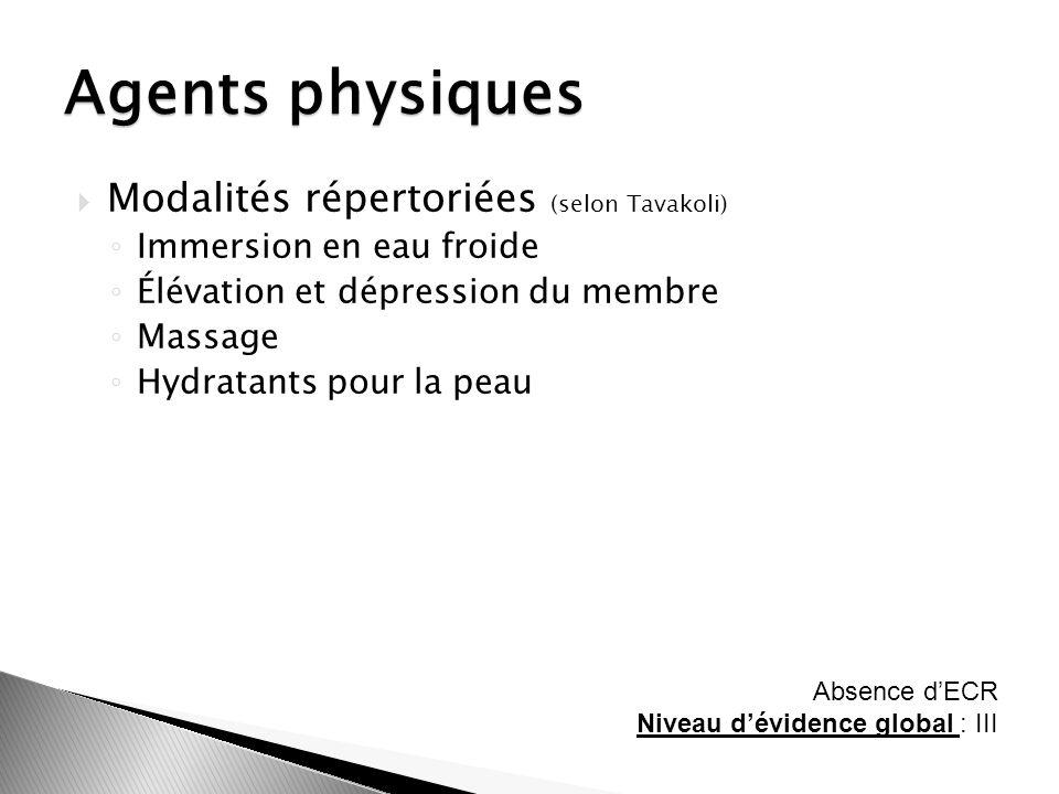 Agents physiques Modalités répertoriées (selon Tavakoli)