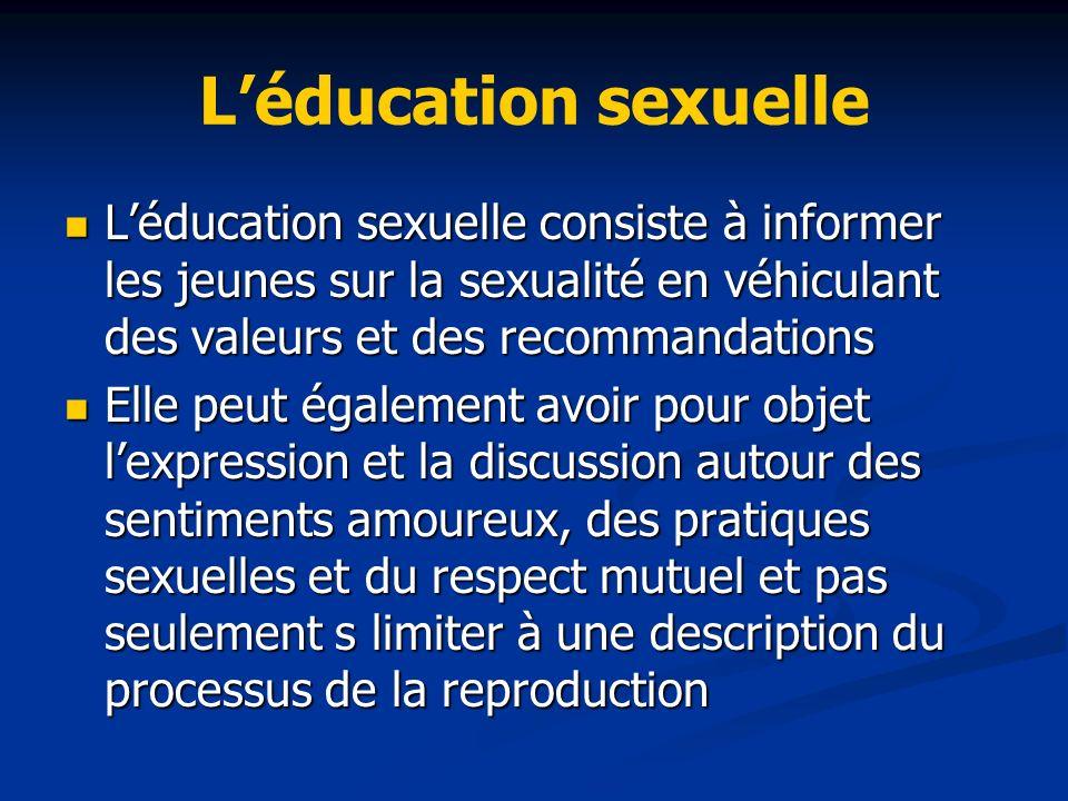 L'éducation sexuelle L'éducation sexuelle consiste à informer les jeunes sur la sexualité en véhiculant des valeurs et des recommandations.