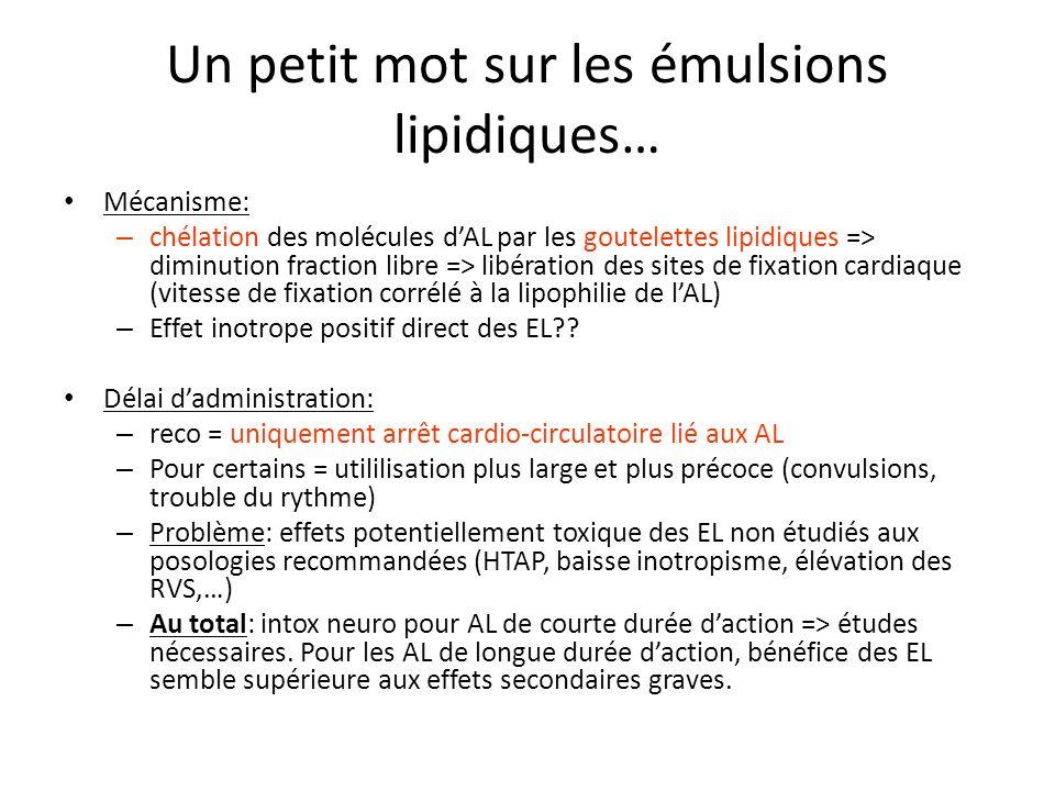 Un petit mot sur les émulsions lipidiques…