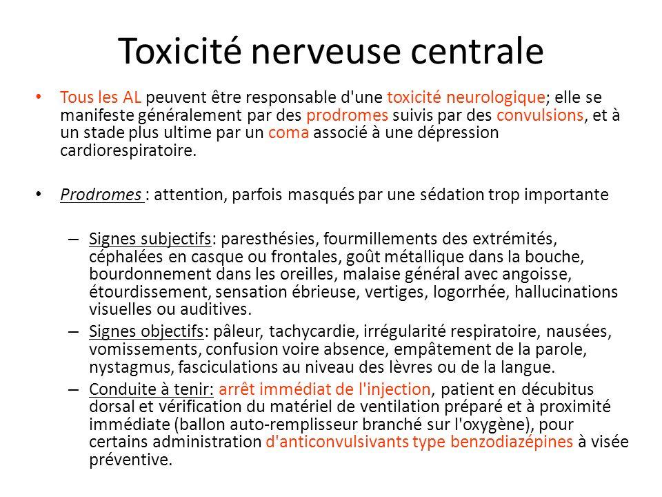 Toxicité nerveuse centrale