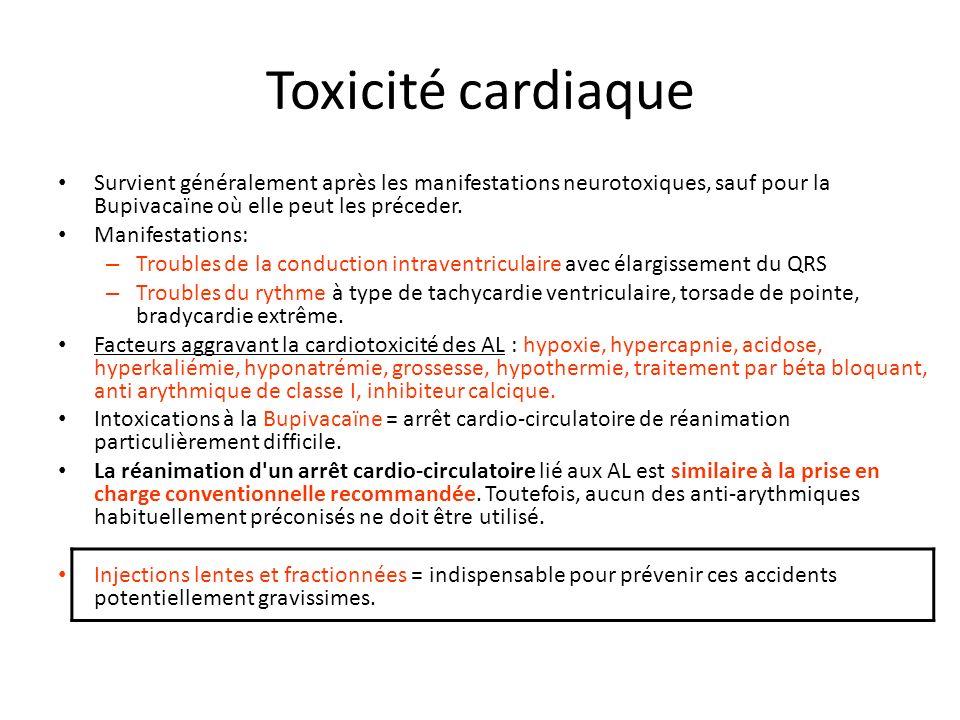 Toxicité cardiaque Survient généralement après les manifestations neurotoxiques, sauf pour la Bupivacaïne où elle peut les préceder.