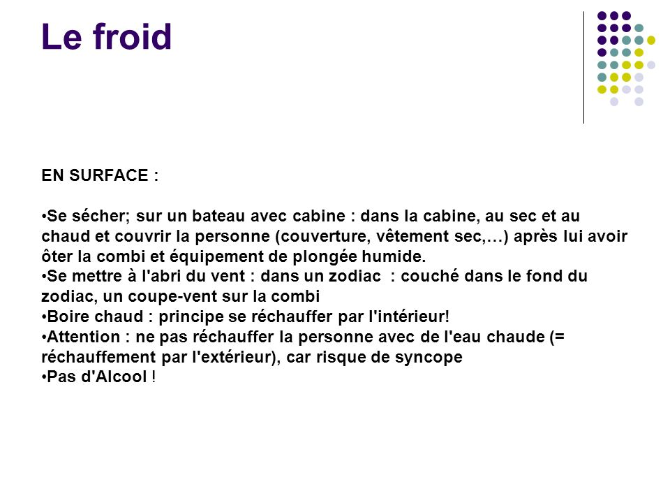 Le froid EN SURFACE :
