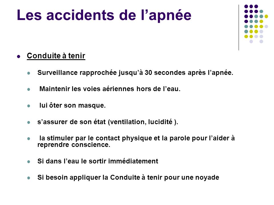 Les accidents de l'apnée
