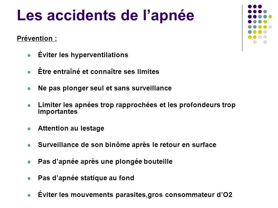 Les accidents de l'apnée