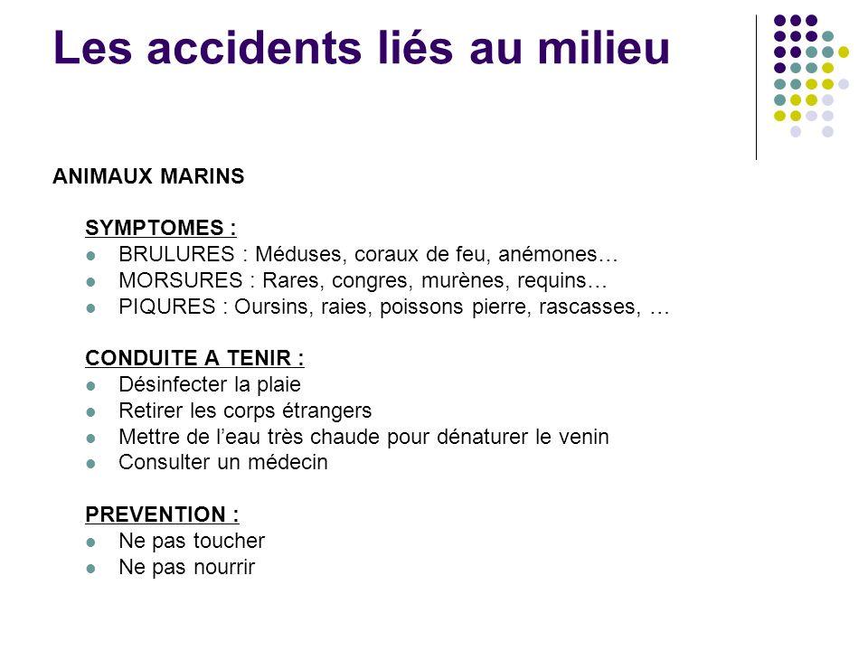 Les accidents liés au milieu