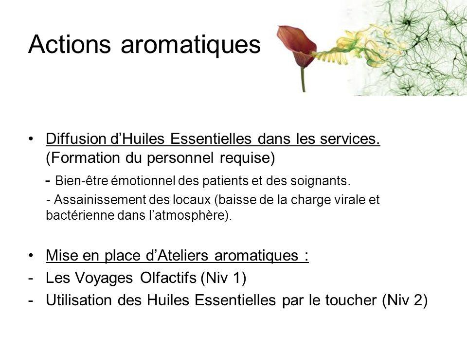 Actions aromatiques Diffusion d'Huiles Essentielles dans les services. (Formation du personnel requise)