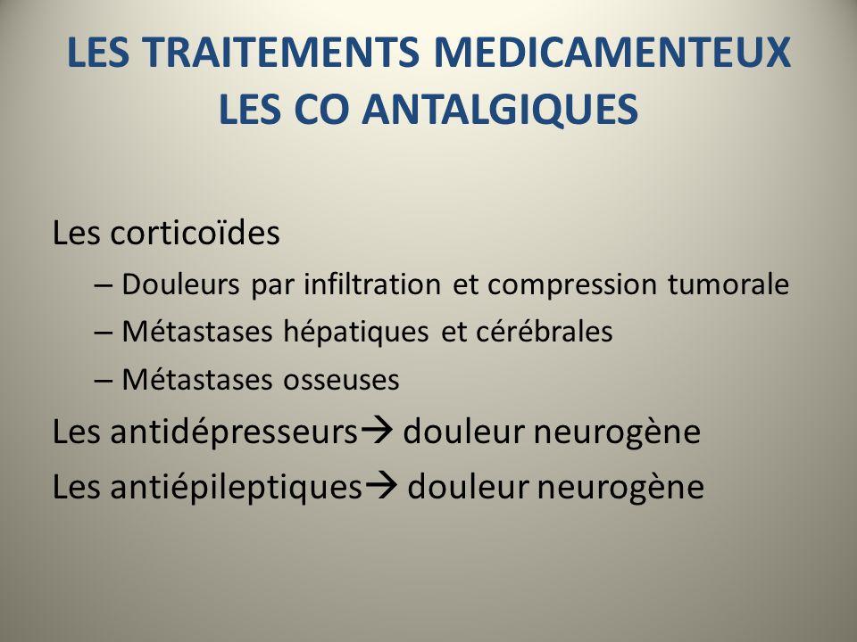 LES TRAITEMENTS MEDICAMENTEUX LES CO ANTALGIQUES