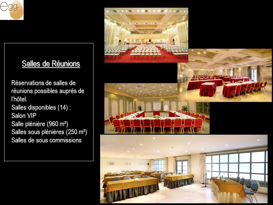 Salles de Réunions Réservations de salles de réunions possibles auprès de l'hôtel. Salles disponibles (14) :