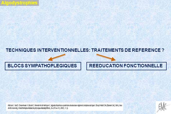 Algodystrophies TECHNIQUES INTERVENTIONNELLES: TRAITEMENTS DE REFERENCE BLOCS SYMPATHOPLEGIQUES.