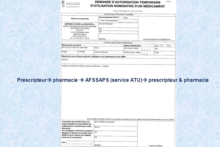 Prescripteur pharmacie  AFSSAPS (service ATU) prescripteur & pharmacie