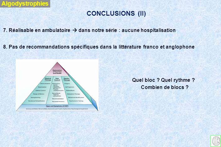 CONCLUSIONS (II) Algodystrophies