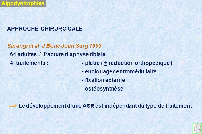 Algodystrophies APPROCHE CHIRURGICALE. Sarangi et al J Bone Joint Surg 1993. 64 adultes / fracture diaphyse tibiale.