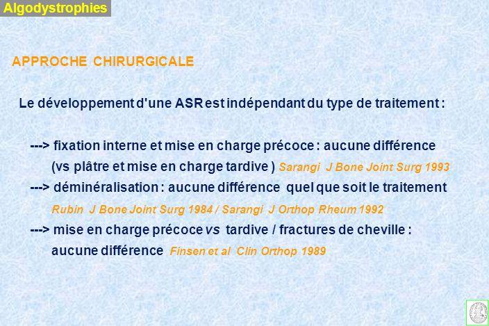 AlgodystrophiesAPPROCHE CHIRURGICALE. Le développement d une ASR est indépendant du type de traitement :