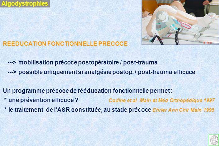 Algodystrophies REEDUCATION FONCTIONNELLE PRECOCE. ---> mobilisation précoce postopératoire / post-trauma.