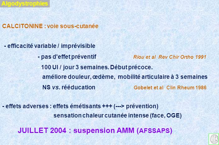 JUILLET 2004 : suspension AMM (AFSSAPS)