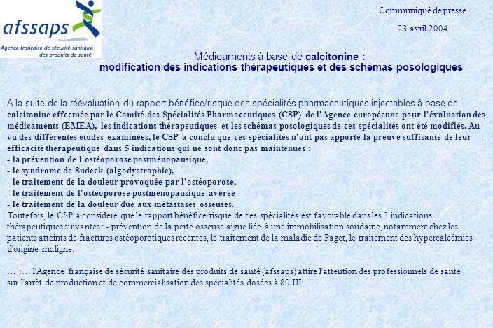 Communiqué de presse 23 avril 2004. Médicaments à base de calcitonine : modification des indications thérapeutiques et des schémas posologiques.