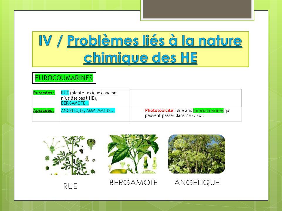 IV / Problèmes liés à la nature chimique des HE