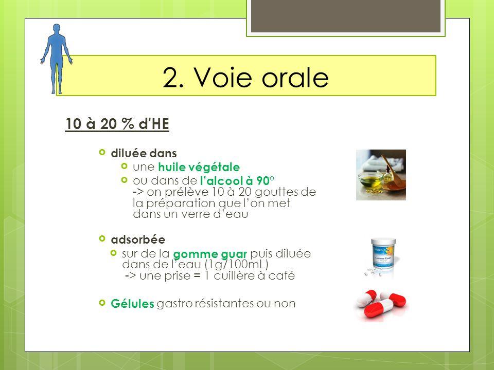 2. Voie orale 10 à 20 % d HE diluée dans une huile végétale