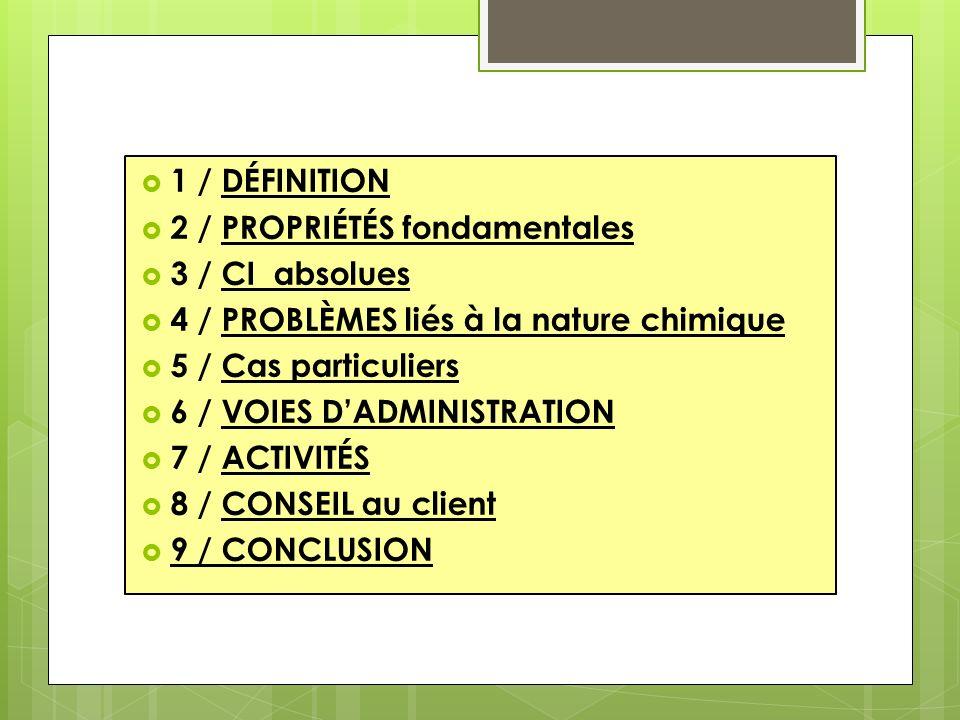 1 / DÉFINITION 2 / PROPRIÉTÉS fondamentales. 3 / CI absolues. 4 / PROBLÈMES liés à la nature chimique.