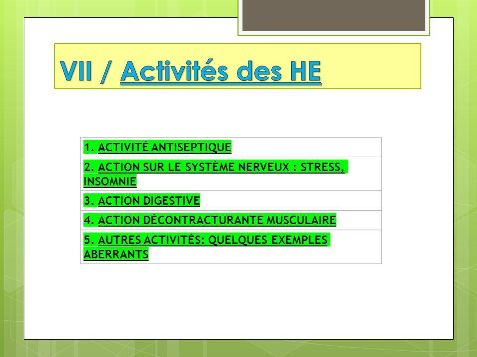 VII / Activités des HE 1. ACTIVITÉ ANTISEPTIQUE