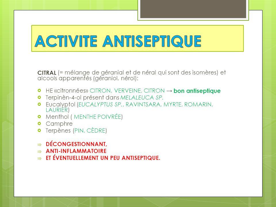 ACTIVITE ANTISEPTIQUE