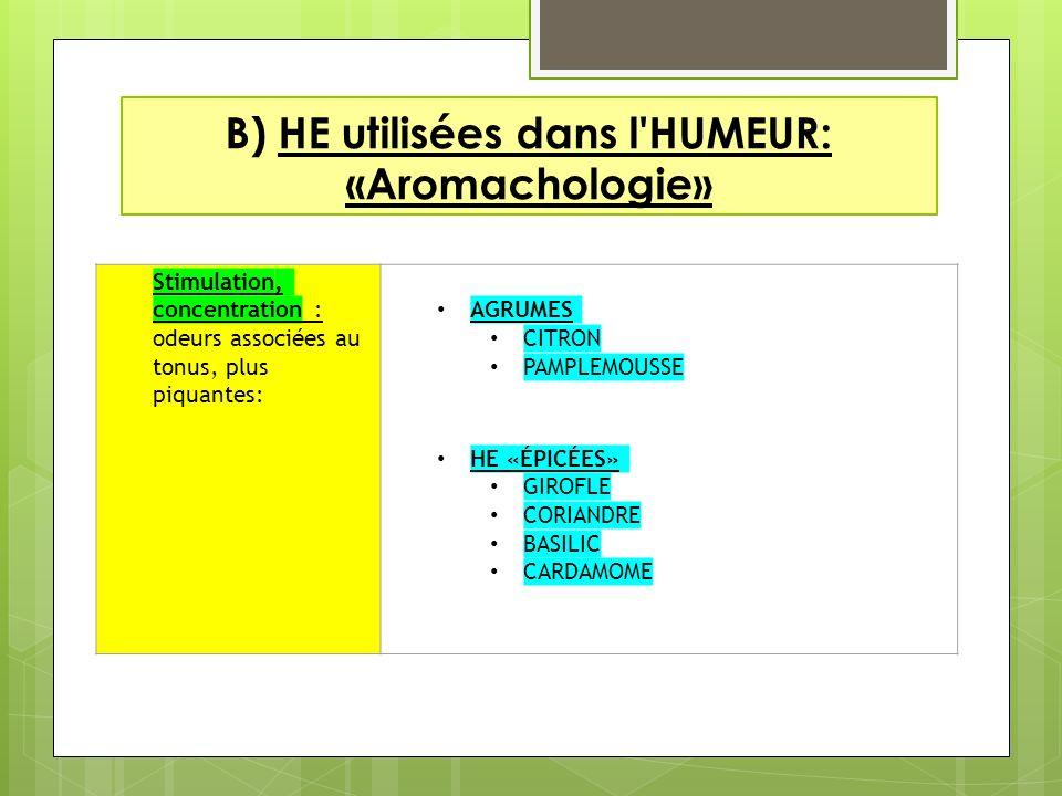 B) HE utilisées dans l HUMEUR: «Aromachologie»