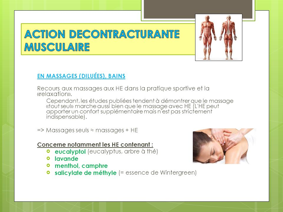 ACTION DECONTRACTURANTE MUSCULAIRE