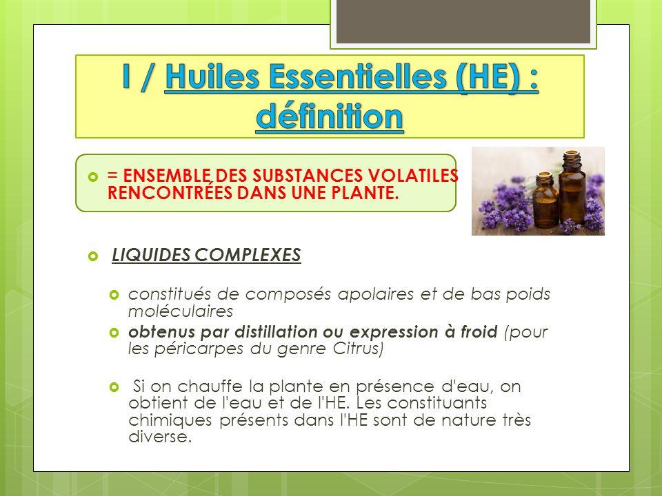 I / Huiles Essentielles (HE) : définition