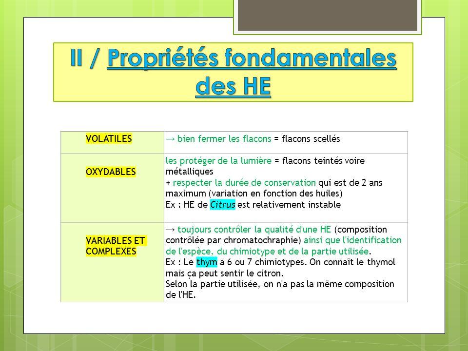 II / Propriétés fondamentales des HE