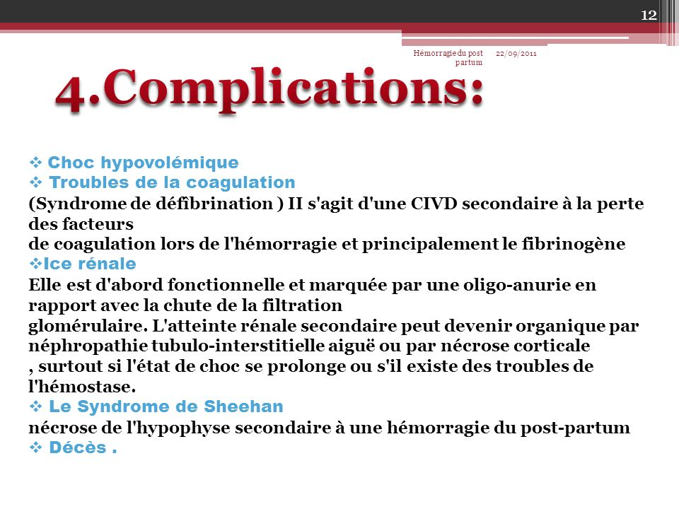 4.Complications: Choc hypovolémique Troubles de la coagulation