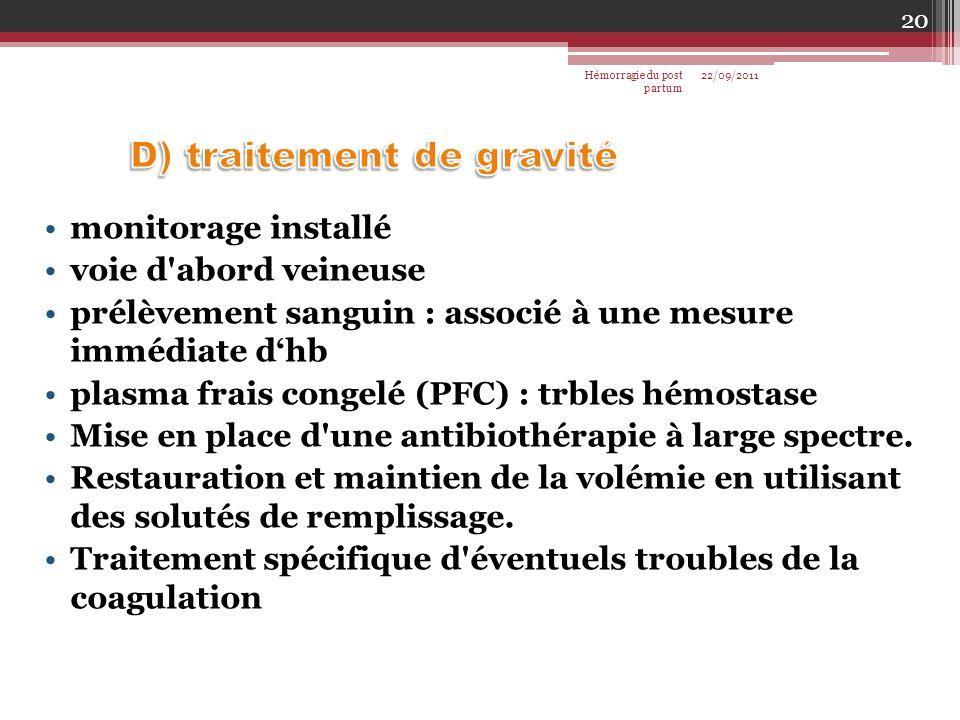 D) traitement de gravité