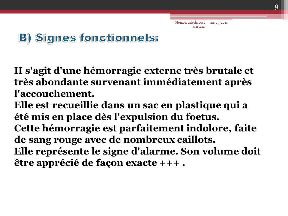 B) Signes fonctionnels: