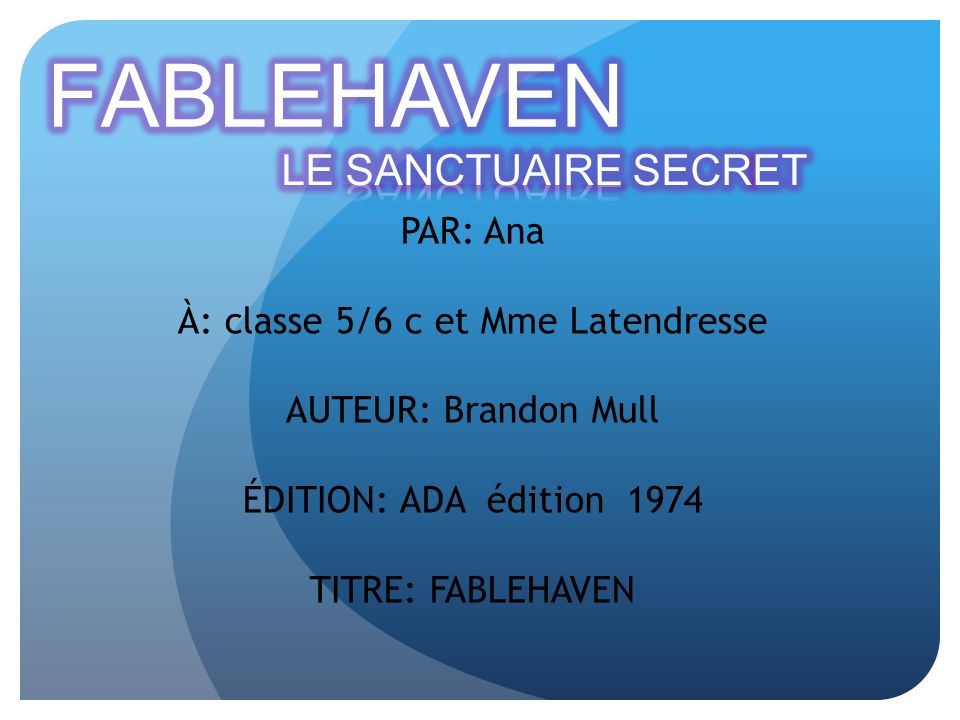 À: classe 5/6 c et Mme Latendresse