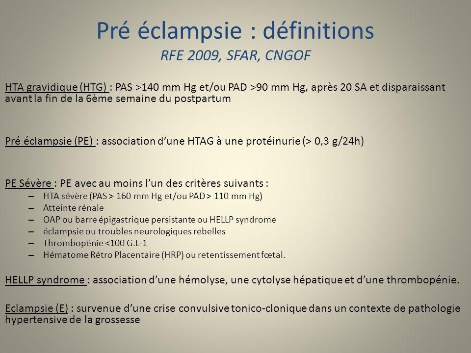 Pré éclampsie : définitions RFE 2009, SFAR, CNGOF