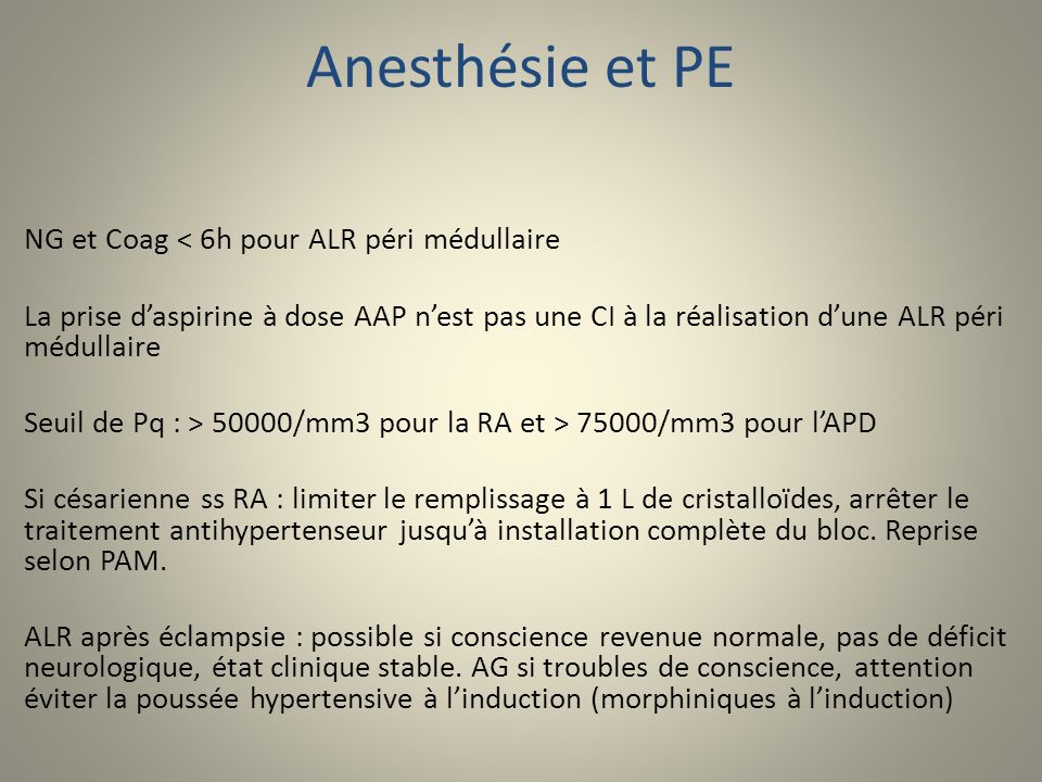 Anesthésie et PE NG et Coag < 6h pour ALR péri médullaire