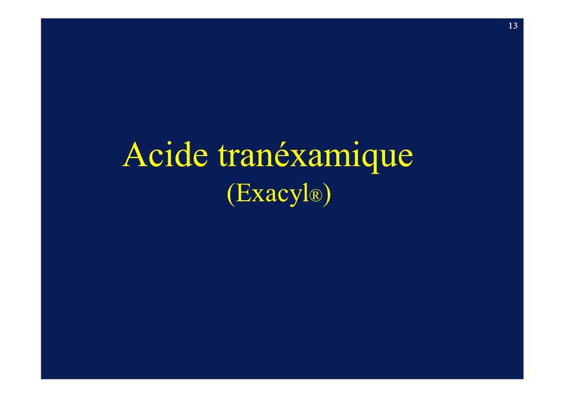 13 Acide tranéxamique (Exacyl®)