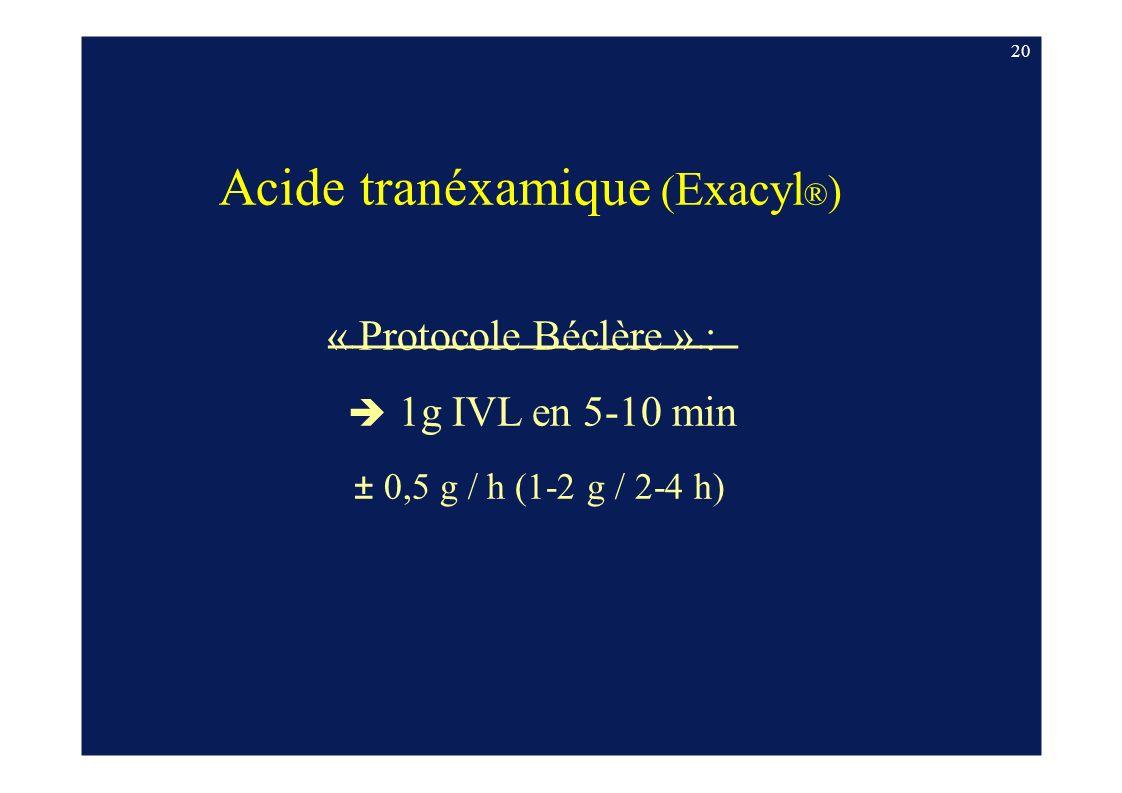 Acide tranéxamique (Exacyl®)