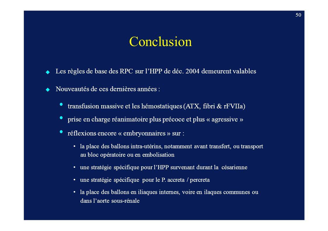 Les règles de base des RPC sur l'HPP de déc. 2004 demeurent valables