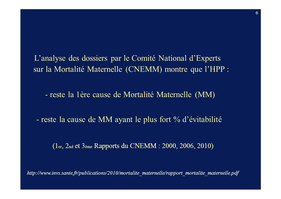 sur la Mortalité Maternelle (CNEMM) montre que l'HPP :